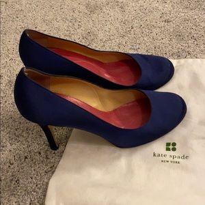 Blue silk Kate spade round toe pumps Sz 8